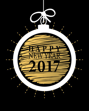 2017 happy new year card or backgroundtrendy style with hand lettering words