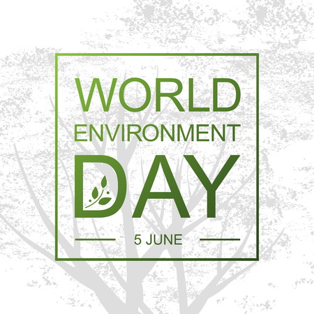 World Environment Day card or background with tree abd leaves.