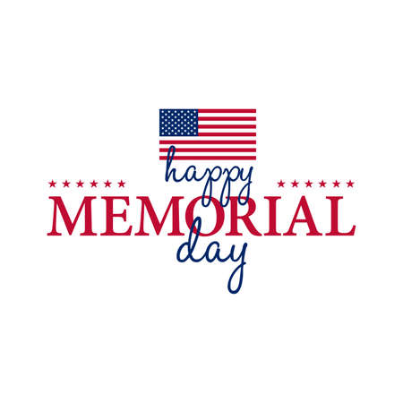 memory card: Happy Memorial National American Day card or background with with USA flag.  Festive poster or banner with hand lettering.