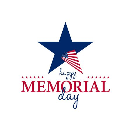 Happy Memorial National American Day card or background with with USA flag.  Festive poster or banner with hand lettering.