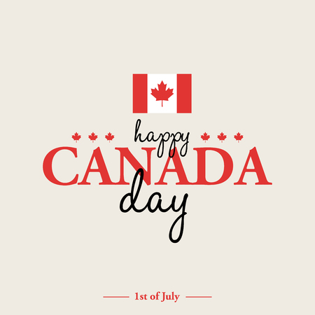 Happy 1th of July Canada Day card or background with Maple leaf.  Canadian flag greeting card.  Festive poster or banner with hand lettering. Flat design.