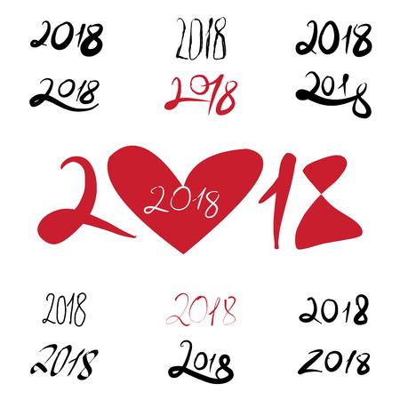 2018 handwritten sign set on white background.