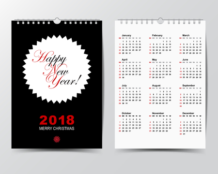 weekly: Calendar Template for 2018 year.  Week starts from Sunday Modern Flat Design Concept. Illustration