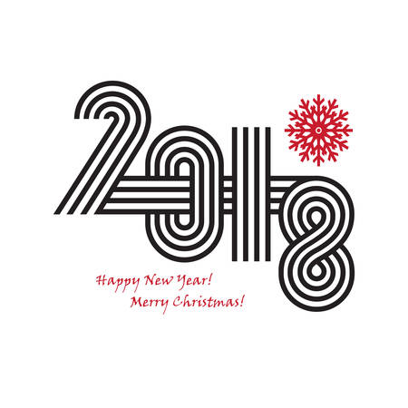 2018 Happy New Year trendy and minimalistic card or background. Modern thin contour line design concept Isolated on white background. Vetores