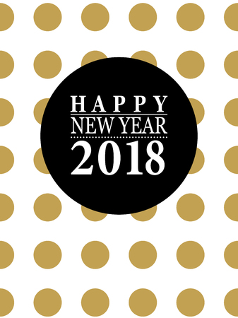 2018 Happy New Year card or background. Trendy style with hand-lettering words. Black, white, gold colors Banner template for flat design.