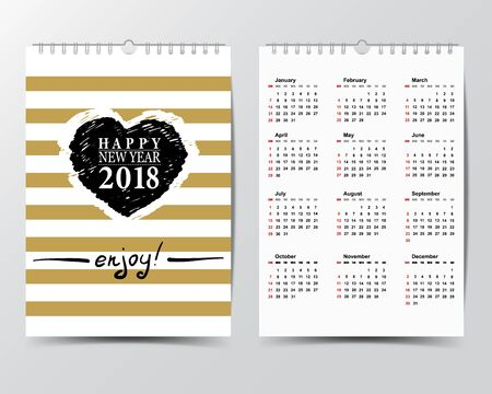 weekly: Calendar Template for 2018 year.