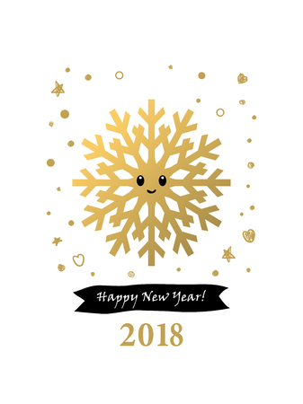 2018 Happy New Year Card Or Background. Trendy Style With Hand ...
