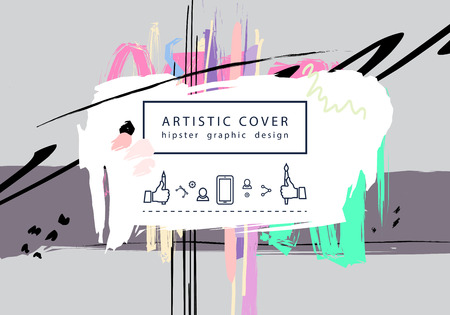 artictic: Creative universal floral artictic cover in trendy style with Hand Drawn textures. Illustration