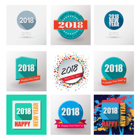 christmas backgrounds: 2018 Set of Happy New Year flat labels and stamps. Illustration