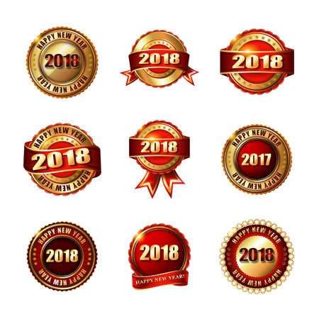 christmas backgrounds: Set of Happy New Year 2018 Golden Labels with Ribbon. Isolated on white background. Illustration