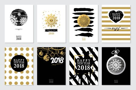christmas backgrounds: 2018 Set of Happy New Year card or background.Trendy style with hand-lettering words.Black, white, gold colors design.Banner template for flat design. Illustration