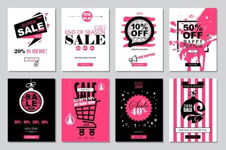 christmas backgrounds: Set of 2018 Happy New Year Sale Banners Templates for on-line shopping with black, white, pink colors. Trendy flat style with hand-lettering words.Vector