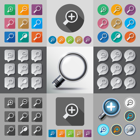 Search with Loupe.Flat style icons set with long shadow. Contour line style. Illustration