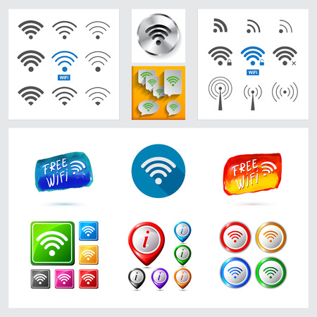 Set of different wireless and wifi icons   for design.Speech bubbles and buttons isolated on white background. Trendy flat and contour line style.