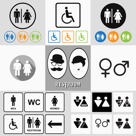 Male and female restroom symbol icons set with men, women, arrow and disability. Trendy flat and contour line style.