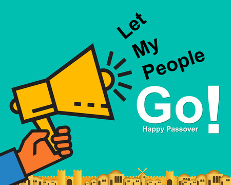 Happy pass over card or background with text let my people go. Festive poster or banner trendy flat design.