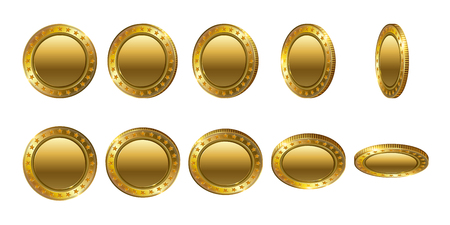 Set of Empty 3d gold coins. Flip Different Angles.Cash money symbol isolated on white background. Finance Investment Concept of Money.  Logo, icon, isolated on white background. Modern flat style.
