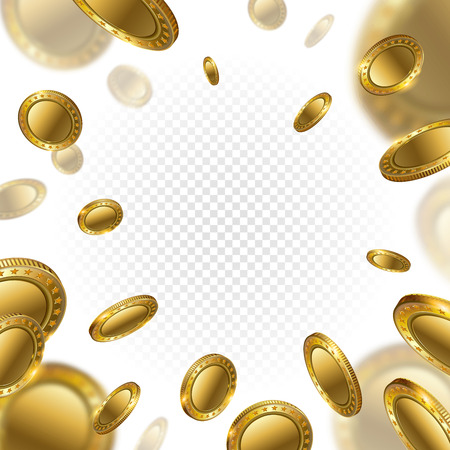 Fortune Realistic 3d Gold Empty Coins flying on transparent background. Casino cash prize money. Cash money symbol isolated. Finance investment.