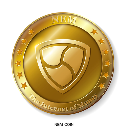 Realistic 3d golden Nem coin.The Internet of Money.Banking and blockchain concept. Modern flat style.
