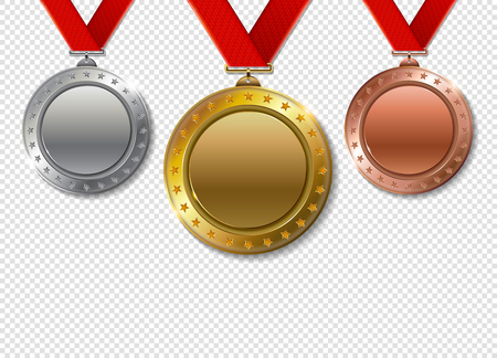 Set of realistic 3d Champion gold, silver and bronze award  trophy empty medals with ribbons for winner. Honor prize. Modern flat style isolated on transparent background. Vectores
