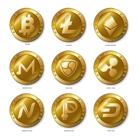 Set of Realistic 3d golden Bitcoin, Litecoin, Ethereum,Dash, Monero, Namecoin, Nem, Peercoin, Ripple coins.The Internet of Money.Banking and blockchain concept. Modern flat style isolated on white background. Vector Illustration
