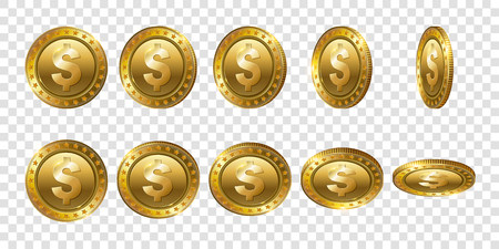Set of realistic 3d gold dollar coins. Flip Different Angles.Cash money symbol. Finance Investment Concept of Money.  Logo, icon, sign isolated on transparent background. Modern flat style.