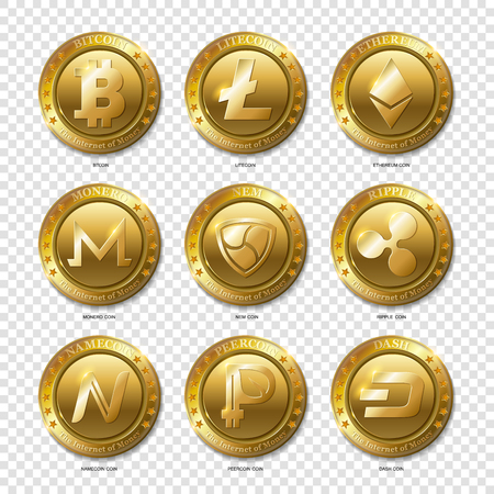 Set of Realistic 3d golden Bitcoin, Litecoin, Ethereum,Dash, Monero, Namecoin, Nem, Peercoin, Ripple coins.The Internet of Money.Banking and blockchain concept. Modern flat style isolated on transparent background.