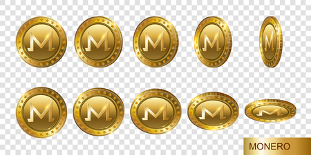 Monero. Set of realistic 3d gold crypto coins. Flip Different Angles. Cash money symbol. Finance Investment Concept of Money.   Logo, icon, sign isolated on transparent background.  Modern flat style.