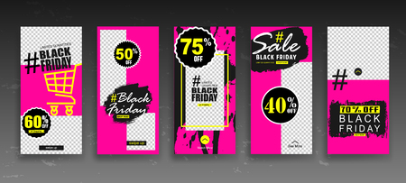 Set of creative Black Friday universal Editable Stories Template in trendy style on transparent background for social media promo. Trendy flat style with hand-lettering words for posters, newsletter, ads, coupons, banners. Retro style elements.   Vector illustration