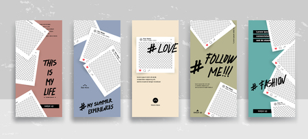 Set of creative universal Editable Stories Template in trendy style on transparent background for social media promo. Love, follow me, this is my life, my summer experience, about me. Vector illustration