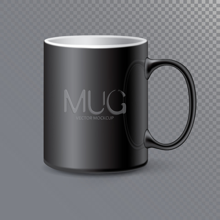 Photo realistic ceramic clean Mug or Cup for tea and coffee. 3d mockup isolated on transparent background.  Realistic graphic style template. Vector illustration Ilustração