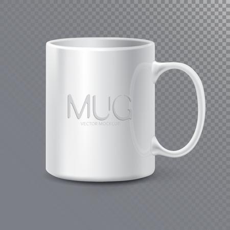 Fotorealistyczny ceramiczny czysty kubek lub filiżanka na herbatę i kawę. 3D makieta na przezroczystym tle. Realistyczny szablon stylu graficznego. Ilustracja wektorowa
