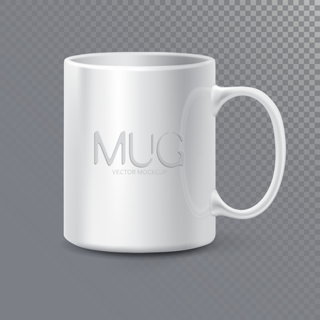Tasse ou tasse propre en céramique photo réaliste pour le thé et le café. Maquette 3D isolée sur fond transparent. Modèle de style graphique réaliste. Illustration vectorielle
