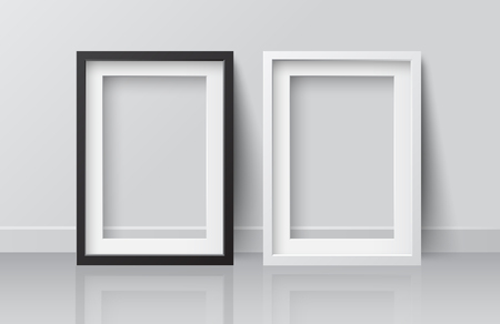 Realistic White and Black Blank Picture Square frame, standing on White Floor at White Wall from the Front.  Design Template for Mock Up. Vector illustration