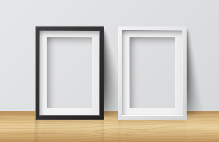 Realistic White and Black Blank Picture Square frame, standing on Light Wood Floor at White Wall from the Front.  Design Template for Mock Up. Vector illustration