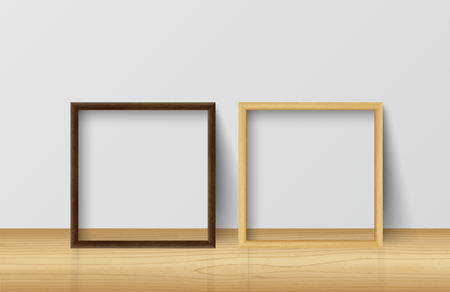 Realistic Square Light Wood and Dark Wood Blank Picture frame,standing on Light Wood Floor at White Wall from the Front.  Design Template for Mock Up. Vector illustration Ilustração
