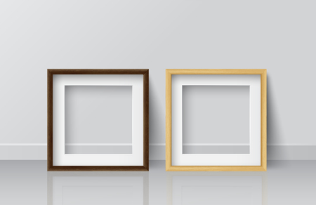 Realistic Square Light Wood and Dark Wood Blank Picture frame, standing on White Floor at White Wall from the Front.  Design Template for Mock Up. Vector illustration