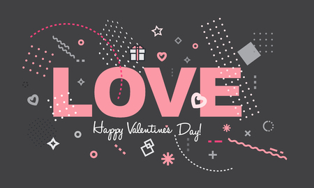 Happy Valentines Day card or background.Concept for greeting, mobile website banner, social media, marketing. Trendy cover for placard, poster, magazine, brochure, flyer.Minimal geometric abstract trendy style. Ilustração