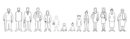 Generation of men and woman from infants to seniors. Baby, child, teenager, student, business men, business woman, adult, senior man and senior woman. Ilustração