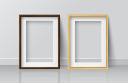 Realistic Square Light Wood and Dark Wood Blank Picture frame, standing on White Floor atWhite Wall from the Front. Design Template for Mock Up.Vector illustration