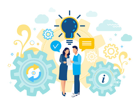 Team leaders are standing, talking and looking into the tablet. Business porters a successful man and women. Flat styl illustration for social networking, chat, video, news, messages, web site, mobile web graphics. Ilustração