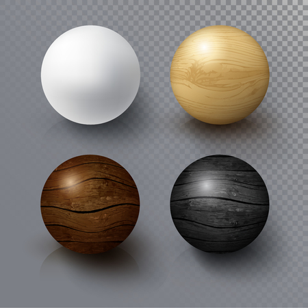 Set of Realistic 3D White Ball and Wooden Sphere. Balls on transparent background with reflection. Design Template for Mock Up. Vector Illustration