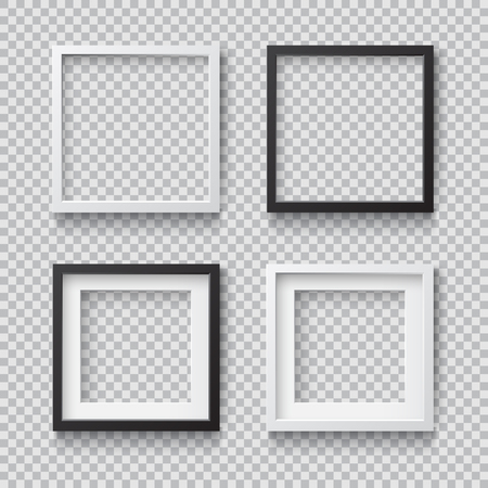 Photo Realistic Square White Blank Picture Frame, hanging on a Wall from the Front. 3d mockup isolated on transparent background. Graphic style template.Vector illustration