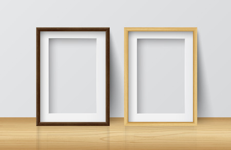 Realistic Square Light Wood and Dark Wood Blank Picture frame,standing on Light Wood Floor atWhite Wall from the Front. Design Template for Mock Up.Vector illustration Ilustração