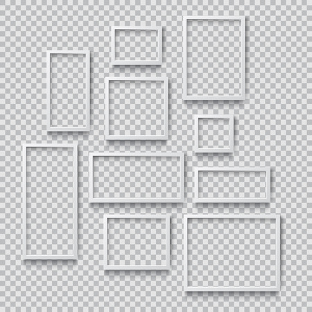 Set of Photo Realistic Square White  Blank Picture Frame, hanging on a Wall from the Front. 3d mockup isolated on transparent background. Graphic style template.Vector illustration