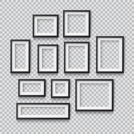 Set of Photo Realistic Square Black  Blank Picture Frame, hanging on a Wall from the Front. 3d mockup isolated on transparent background. Graphic style template.Vector illustration