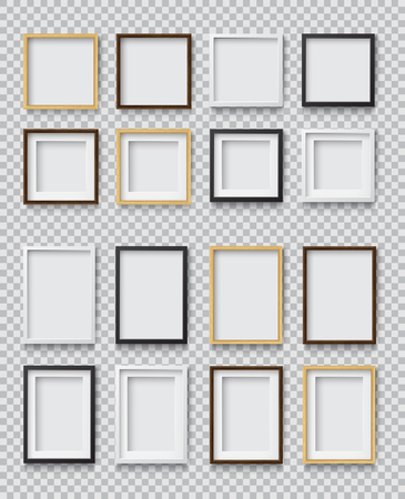 Set of Photo Realistic Square White, Black and Wood Blank Picture Frame, hanging on a Wall from the Front. 3d mockup isolated on transparent background. Graphic style template.Vector illustration Ilustração