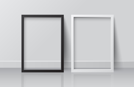 Realistic White and Black Blank Picture Square frame, standing on White Floor atWhite Wall from the Front. Design Template for Mock Up.Vector illustration Ilustração