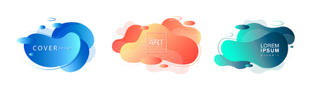 Set of liquid color abstract geometric shapes. Fluid gradient banners with living coral color.Futuristic trendy dynamic elements for cover, social post, bauhaus backgrounds poster, magazine, brochure or flyer design.Vector illustration