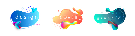 Set of liquid color abstract geometric shapes. Fluid gradient banners with living coral color.Futuristic trendy dynamic elements for poster, magazine, brochure or flyer design.Vector illustration